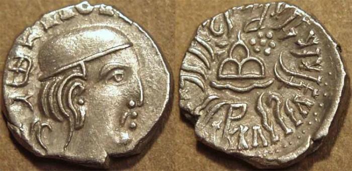 Ancient Coins - INDIA, WESTERN KSHATRAPAS: Rudrasena III (348-378 CE) Silver drachm, year S. 290. CHOICE!