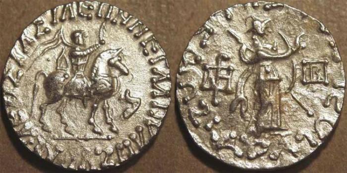Ancient Coins - INDO-SCYTHIAN, AZES II Silver tetradrachm, Athena reverse, Senior 98.370a. CHOICE!