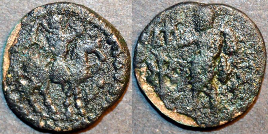 Ancient Coins - Indo-Scythian: Azes II AR drachm, Zeus reverse, BARGAIN-PRICED!