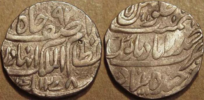 World Coins -  INDIA, HYDERABAD, Afzal ad-Daula (1857-69) Silver rupee ino Asaf Jah, Hyderabad, AH 1278, RY 5.