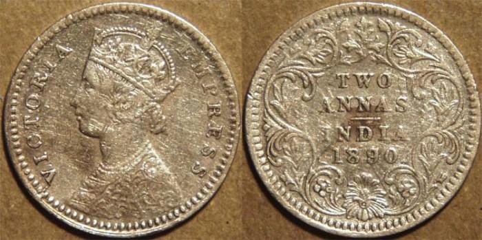 Ancient Coins - BRITISH INDIA, Victoria Silver 2 annas (1/8 rupee), Calcutta mint, 1890.