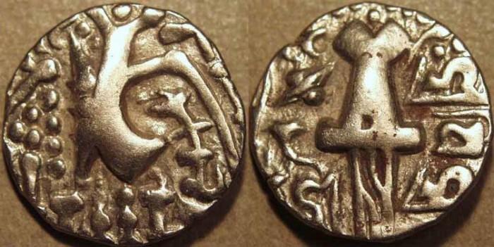 Ancient Coins - INDIA, KIDARITES of KASHMIR, Vigrahadeva base Gold dinar. SCARCE!