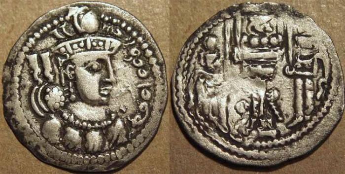 "Ancient Coins - INDIA, KIDARITES in GANDHARA, ""Sri Shah"": Sasanian style Silver drachm. SCARCE & CHOICE!"