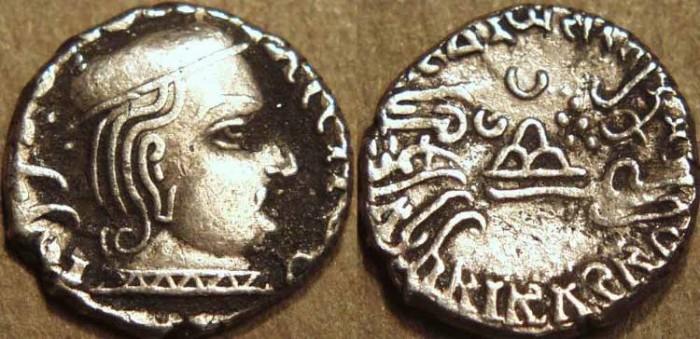 Ancient Coins - INDIA, WESTERN KSHATRAPAS: Vijayasena (239-250 CE) Silver drachm, as Kshatrapa, year S. 161