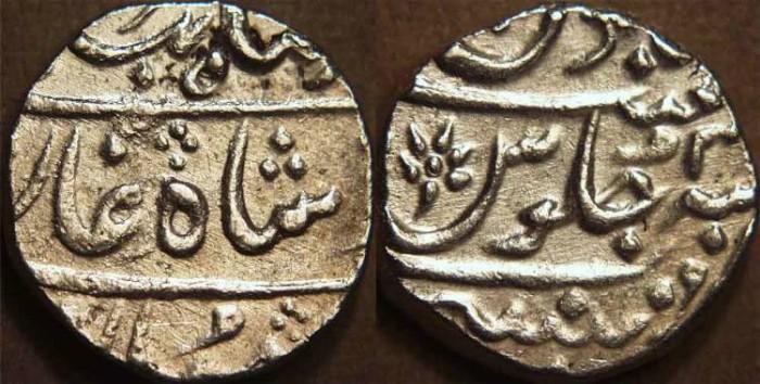 Ancient Coins - BRITISH INDIA, BOMBAY PRESIDENCY: Silver rupee in the name of Ahmad Shah Bahadur (1748-1754), Munbai, RY 3. RARE + CHOICE!
