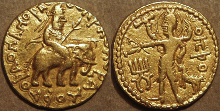 Ancient Coins - INDIA, KUSHAN: Huvishka Gold dinar, Elephant-rider/Oesho (Siva) EXTREMELY RARE and CHOICE!