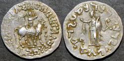 Ancient Coins - INDO-SCYTHIAN, AZES II Silver tetradrachm, Athena LEFT reverse, Senior 95.32T. RARE & CHOICE!