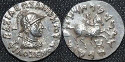 Ancient Coins - INDO-GREEK: Philoxenos AR tetradrachm, helmeted type, RARE and SUPERB!