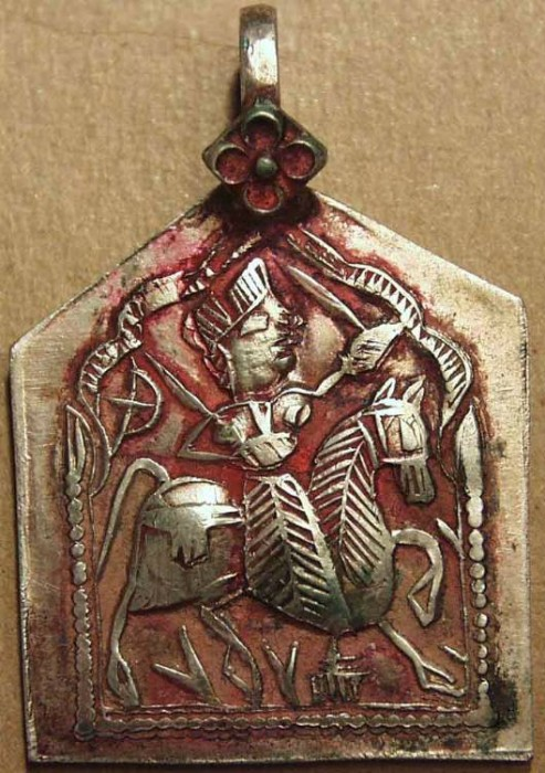 Ancient Coins - INDIA, MARATHA period, Silver pendant representing Khanderao. SUPERB!