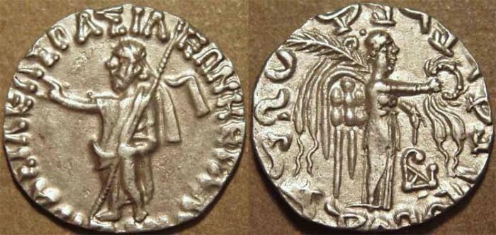 Ancient Coins - Indo-Scythian: Azes I AR drachm: Zeus/Nike. RARE and SUPERB!
