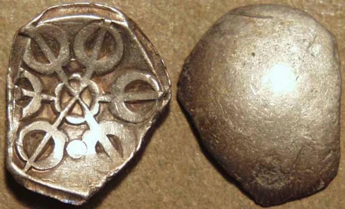 Ancient Coins - INDIA, GANDHARA janapada, Silver 1/8 satamana, Type 6. SUPERB!
