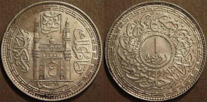 Ancient Coins - INDIA, HYDERABAD, Mir Usman Ali Khan (1911-48) Second Series Silver rupee, Hyderabad, AH 1361, RY 32. SUPERB!