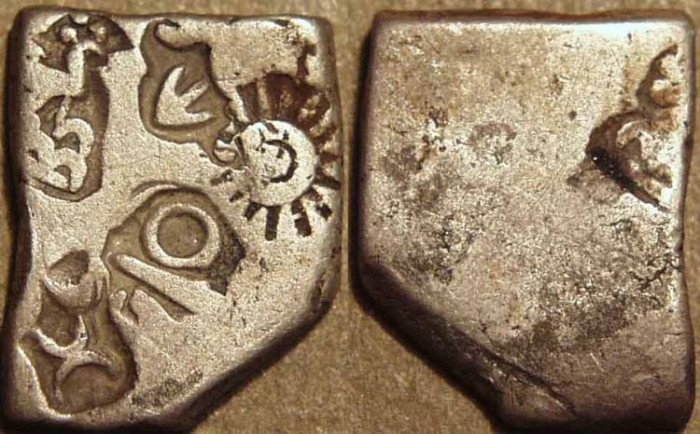 Ancient Coins - INDIA, MAURYA: Series VIb Silver punchmarked karshapana, GH 570. CHOICE!