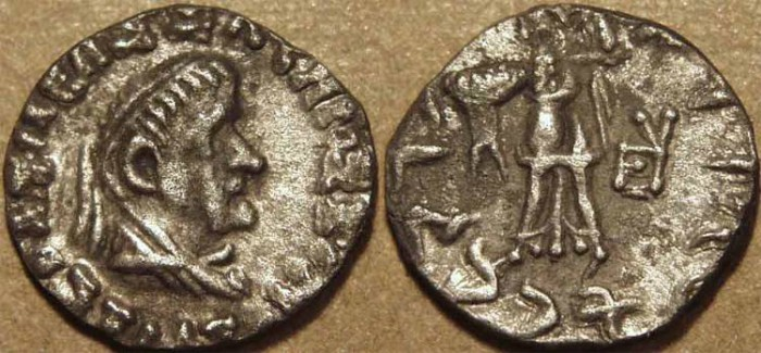 Ancient Coins - INDO-GREEK, Strato II Silver drachm, elderly portrait and short legend, SCARCE!