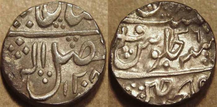 World Coins - INDIA, GWALIOR, Mahadji Rao (1761-94) Silver rupee in the name of Shah Alam II, Ujjain, AH 1208, RY 36. CHOICE!