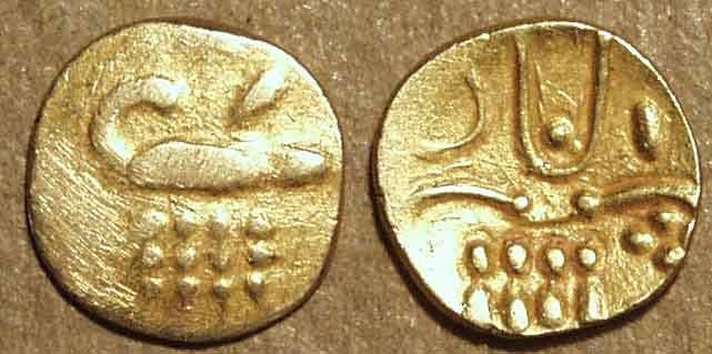 """Ancient Coins - INDIA, RAJAHS of COCHIN: Anonymous Gold """"Vira Raya"""" fanam. Later type. CHOICE+!"""