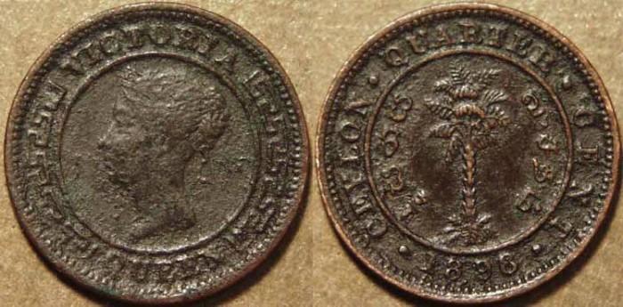 World Coins - SRI LANKA (CEYLON), BRITISH PERIOD, Queen Victoria AE 1/4 cent, 1898
