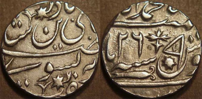 World Coins - INDIA, AWADH: Silver rupee in name of Shah Alam II, Lucknow, no AH date, RY 26. EXTREMELY RARE and SUPERB!