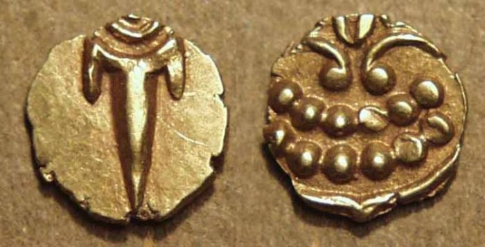 Ancient Coins - INDIA, MARATHAS of THANJAVUR: Anonymous Gold fanam, c. 1678-1800. SUPERB!
