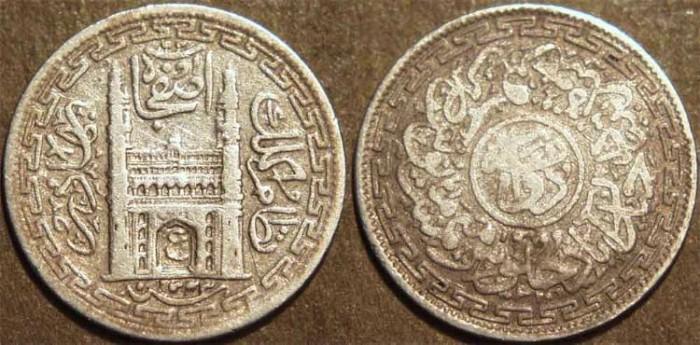 Ancient Coins - INDIA, HYDERABAD, Mir Usman Ali Khan (1911-48) First Series Silver 2 annas (1/8 rupee), Hyderabad, AH 1343, RY 15. CHOICE!
