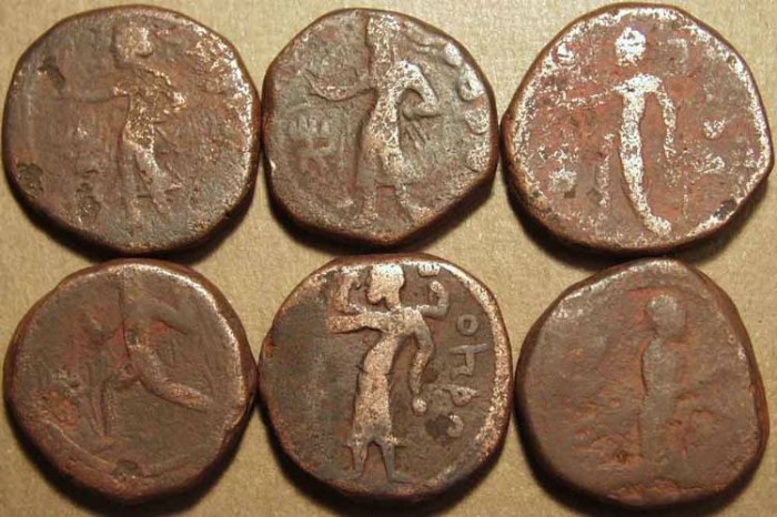 Ancient Coins - INDIA, KUSHAN, Kanishka I Collection of Six copper tetradrachms