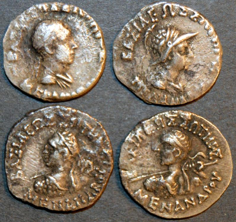 INDO-GREEK: Lot of four Menander drachms, four different types
