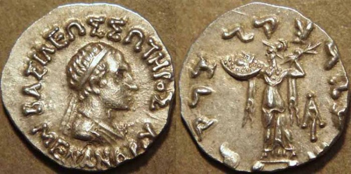 Ancient Coins - INDIA, INDO-GREEK: Menander I Silver drachm, bare-headed type. CHOICE!