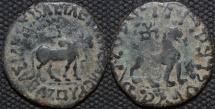 INDO-SCYTHIAN: Azes II AE hexachalkon: Bull/Lion, Senior 102.120. CHOICE!
