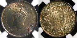 Ancient Coins - BRITISH INDIA, George VI Silver 1/2 rupee, Bombay mint, 1939. MINT STATE; NGC graded MS 62