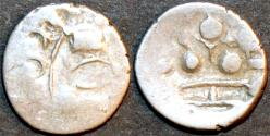 """Ancient Coins - INDIA, UNKNOWN KINGDOM IN SIND OR PUNJAB, """"Tapana"""" Silver unit """"Three Dot"""" type."""