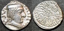 Ancient Coins - INDIA, WESTERN KSHATRAPAS: Damajadasri II (232-233 CE) Silver drachm, year S. 154. RARE & SUPERB!