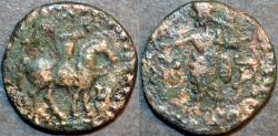 Ancient Coins - INDO-SCYTHIAN, AZES II Silver or Billon drachm, Zeus left type, Senior 105 type. BARGAIN-PRICED!