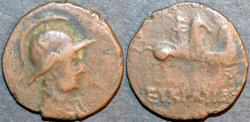 Ancient Coins - BACTRIA, Eukratides (Eucratides) circular AE double unit. SCARCE!