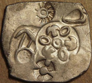 Ancient Coins - INDIA,MAGADHA: Archaic period Silver 25-mashas. EXTREMELY RARE and SUPERB!