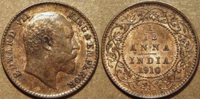 Ancient Coins - BRITISH INDIA, Edward VII AE 1/12 anna, 1910, CHOICE!