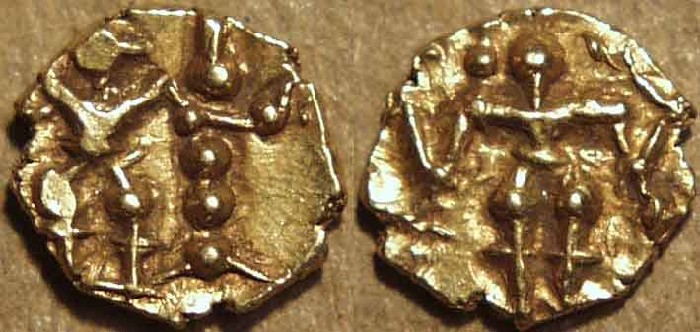 World Coins - INDIA, Hoysalas: Anonymous (c. 12th century) Gold fanam or hana (1/10th gadyana), STANDING Durga. VERY RARE+CHOICE!