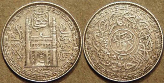 World Coins - INDIA, HYDERABAD, Mir Usman Ali Khan (1911-48) First Series Silver 2 annas (1/8 rupee), Hyderabad, AH 1338, RY 10. CHOICE!