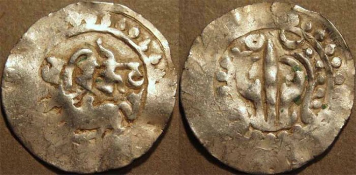 World Coins - INDIA, CANDRAS of HARIKELA: Bull type Silver unit, intermediate type. SCARCE and CHOICE!
