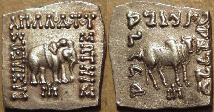 Ancient Coins - INDO-GREEK: Apollodotus I (Apollodotos I) square Silver drachm, Elephant/Bull type, SUPERB!