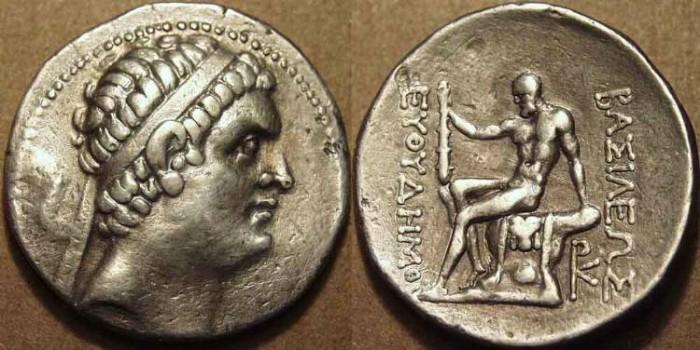 Ancient Coins - Bactrian Kingdom: Euthydemos I AR tetradrachm: ATTRACTIVE!