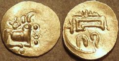 Ancient Coins - INDIA, EASTERN GANGAS, temp. Bhanudeva IV (1414-34) Gold fanam, Year 17. RARE & SUPERB!