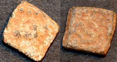 Ancient Coins - INDIA, WESTERN KSHATRAPAS: time of Rudrasena III (?) lead 1/2 unit. SCARCE!