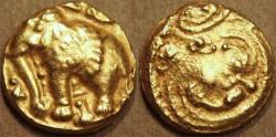 Ancient Coins - INDIA, WESTERN GANGAS: Anonymous AV pagoda with elephant LEFT! VERY RARE + CHOICE!