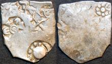 Ancient Coins - INDIA, MAGADHA: Series I AR punchmarked karshapana GH 127. RARE and CHOICE!