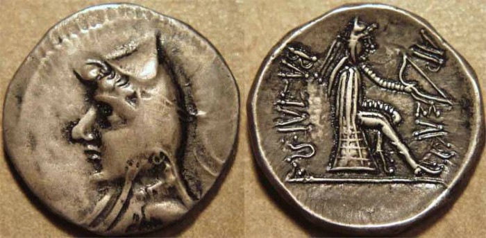 Ancient Coins - PARTHIA, MITHRADATES I (171-138 BCE) Silver drachm, Hekatompylos, Sell 9.1. RARE and CHOICE!