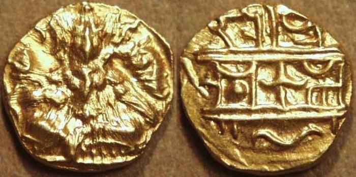 World Coins - INDIA, VIJAYANAGAR, Krishna Devaraya: Gold half pagoda, Balakrishna type. RARE+CHOICE!
