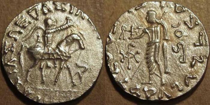 Ancient Coins - INDO-SCYTHIAN, AZES II Silver tetradrachm, Zeus left type. CHOICE!
