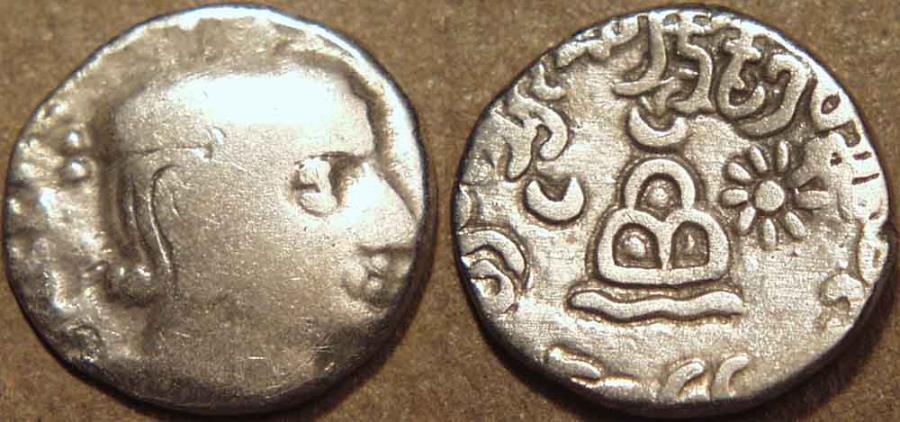 Ancient Coins - INDIA, WESTERN KSHATRAPAS: Rudradaman (c.130-150 CE) Silver drachm,  Legend A