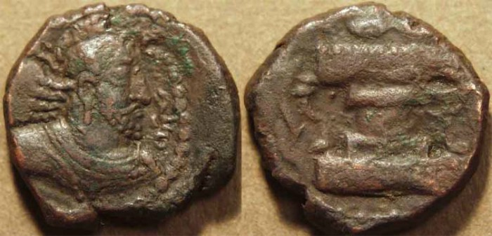 Ancient Coins - INDIA, KUSHANO-SASANIAN, Hormizd I Kushanshah: Copper drachm, heavy type, with variant legend of Kawad. SCARCE and CHOICE!