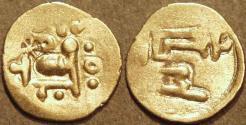 Ancient Coins - INDIA, EASTERN GANGAS, temp. Bhanudeva III (1352-78) Gold fanam, Year 3. RARE & SUPERB!